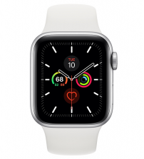 Apple Watch Series 5 40mm - Zilver Aluminium Witte Sportband