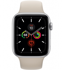 Apple Watch Series 5 44mm - Zilver Aluminium Beige (steengrijs) Sportband