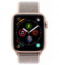 Apple Watch Series 4 44mm Goud / Roze Nylon Sportband