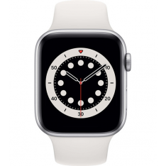 Apple Watch Series 6 44mm - Zilver Aluminium Witte Sportband (NIEUW)